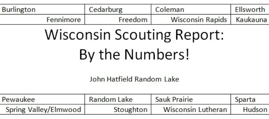 Wisconsin Scouting Report Part One: By the Numbers!  by John Hatfield Random Lake