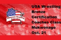 USA Wrestling Bronze Certification Coaches Class – Mukwonago Oct. 21